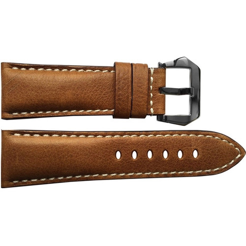 26mm Classic Brown Vintage Leather Watch Strap with White Stitching for Panerai Radiomir | OEMwatchbands.com