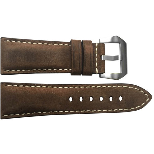 26mm (XL) Brown Suede Vintage Leather Watch Strap with White Stitching for Panerai Radiomir | OEMwatchbands.com