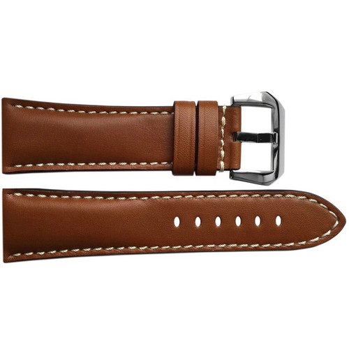26mm (XL) Brown Smooth Calf Leather Watch Strap with White Stitching for Panerai Radiomir | OEMwatchbands.com