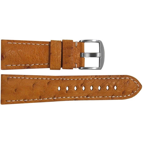 26mm (XL) Natural Ostrich Watch Strap with White Stitching for Panerai Radiomir | OEMwatchbands.com