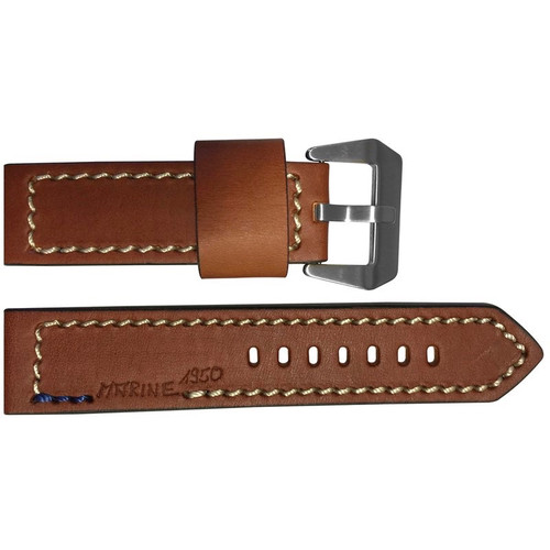 """24mm (XL) Brown Vintage Leather """"Marine 1950"""" Watch Strap with White Stitching 
