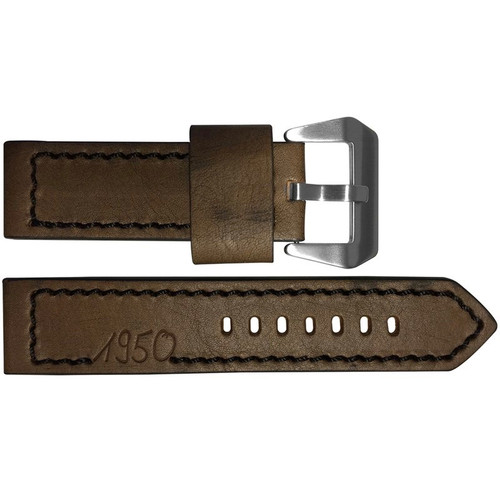 "24mm (XL) Dark Brown Vintage Leather ""Marine 1950"" Watch Strap with Black Stitching 