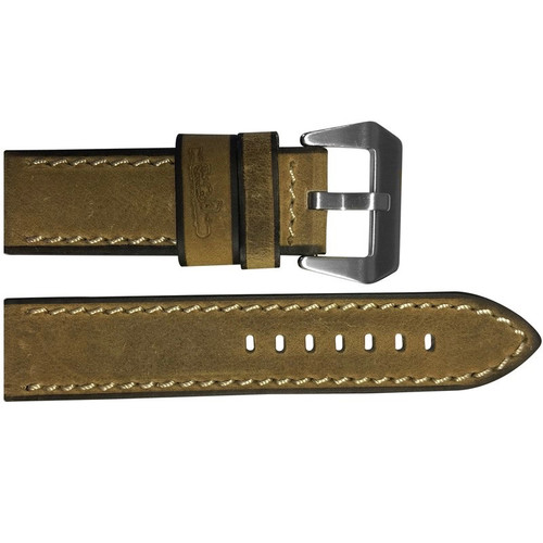 """24mm (XL) Golden-Brown Vintage Leather """"Submarine"""" Watch Strap with White Stitching 