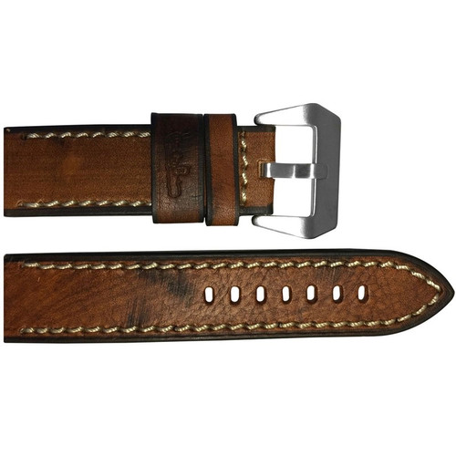 "24mm (XL) Brown Burnt Vintage Leather ""Submarine"" Watch Strap with White Stitching 