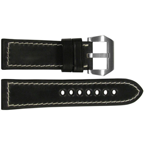 24mm Black Shell Cordovan Leather Watch Strap with White Stitching | OEMwatchbands.com