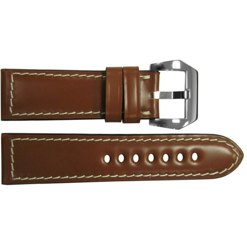 24mm Cognac Padded Shell Cordovan Leather Watch Strap with White Stitching | OEMwatchbands.com