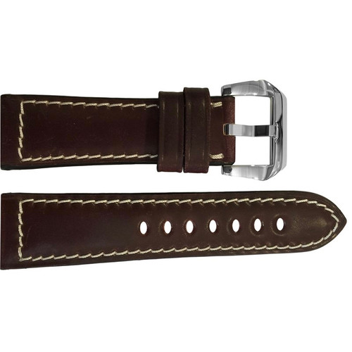 24mm Dark Burgundy Padded Shell Cordovan Leather Watch Strap with White Stitching | OEMwatchbands.com
