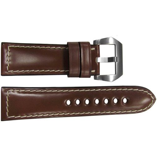 24mm Light Brown Padded Shell Cordovan Leather Watch Strap with White Stitching | OEMwatchbands.com