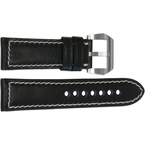 24mm Black Padded Shell Cordovan Leather Watch Strap with White Stitching | OEMwatchbands.com