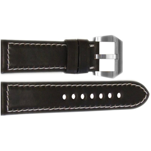 24mm Mocha Padded Shell Cordovan Leather Watch Strap with White Stitching | OEMwatchbands.com