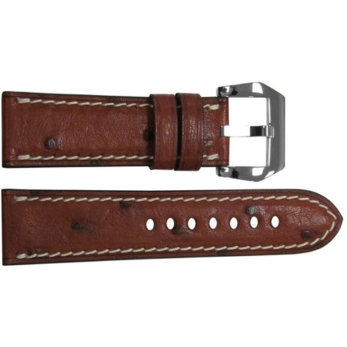 "24mm Mahogany ""Le Jardin"" Ostrich Watch Strap with White Stitching 