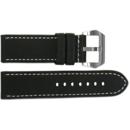 "26mm Black ""KVLR"" Synthetic Style Watch Strap with White Stitching 