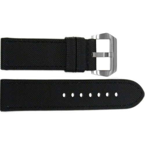 "26mm Black ""KVLR"" Synthetic Style Watch Strap with Match Stitching 