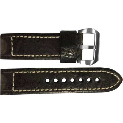 22mm Dark Brown Distressed Vintage Leather Watch Strap with White Classic Box Stitching for Panerai | OEMwatchbands.com
