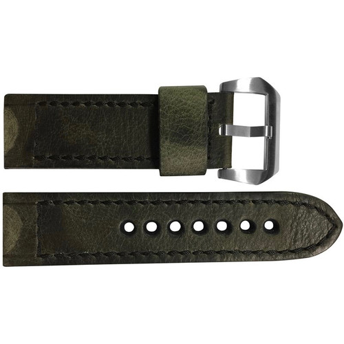 22mm Olive Distressed Vintage Leather Watch Strap with Black Classic Box Stitching for Panerai | OEMwatchbands.com