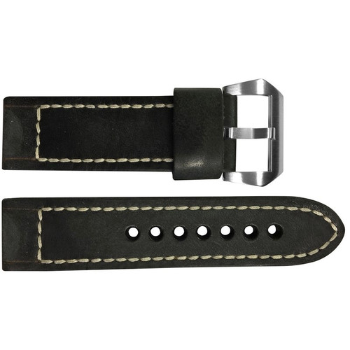 22mm Smooth Black Distressed Vintage Leather Watch Strap with White Classic Box Stitching for Panerai | OEMwatchbands.com