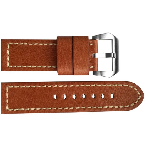 22mm (XL) Camel Vintage Leather Watch Strap with White Stitching | OEMwatchbands.com