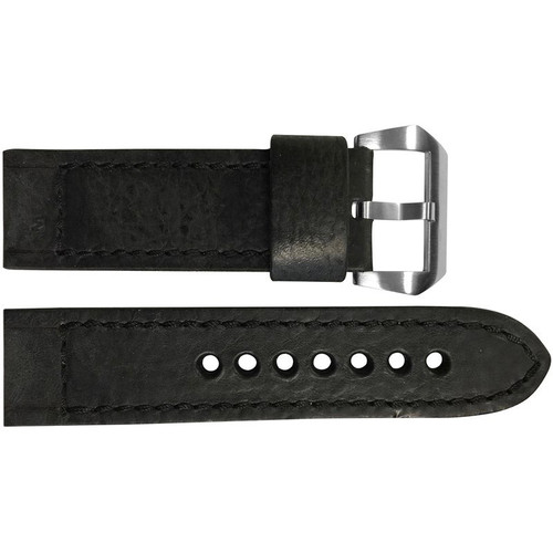 24mm Black Vintage Leather Watch Strap with Black Classic Box Stitching for Panerai | OEMwatchbands.com