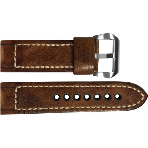 24mm Chestnut Distressed Vintage Leather Watch Strap with White Classic Box Stitching for Panerai | OEMwatchbands.com