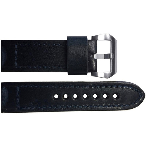 24mm Dark Navy Vintage Leather Watch Strap with Match Classic Box Stitching for Panerai | OEMwatchbands.com