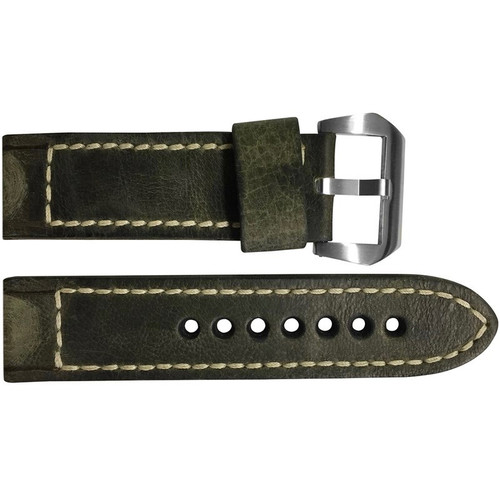 24mm Olive Distressed Vintage Leather Watch Strap with White Classic Box Stitching for Panerai | OEMwatchbands.com
