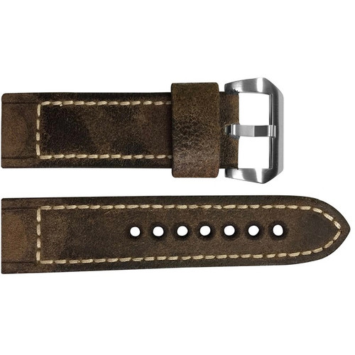 24mm Brown Raw Vintage Leather Watch Strap with White Classic Box Stitching for Panerai | OEMwatchbands.com