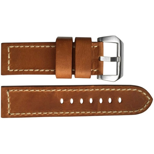 24mm Natural Distressed Vintage Leather Watch Strap with White Stitching | OEMwatchbands.com