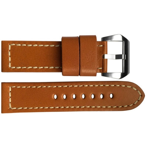 24mm Chestnut Smooth Vintage Leather Watch Strap with White Stitching | OEMwatchbands.com