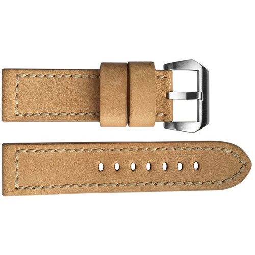 24mm (XL) Beige Vintage Leather Watch Strap with Match Stitching | OEMwatchbands.com