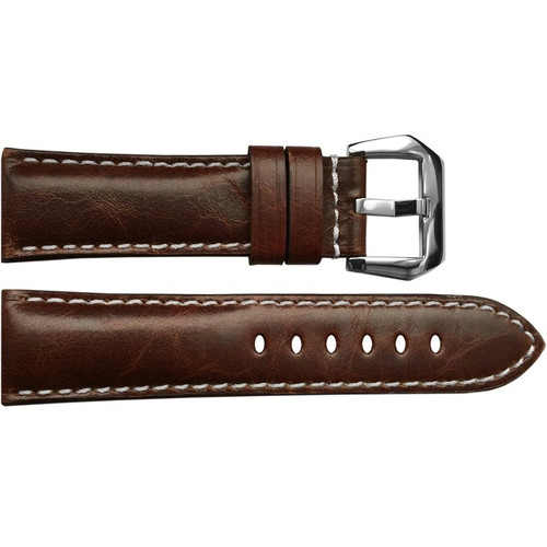 24mm Burnt Maroon Padded Vintage Leather Watch Strap with White Stitching | OEMwatchbands.com