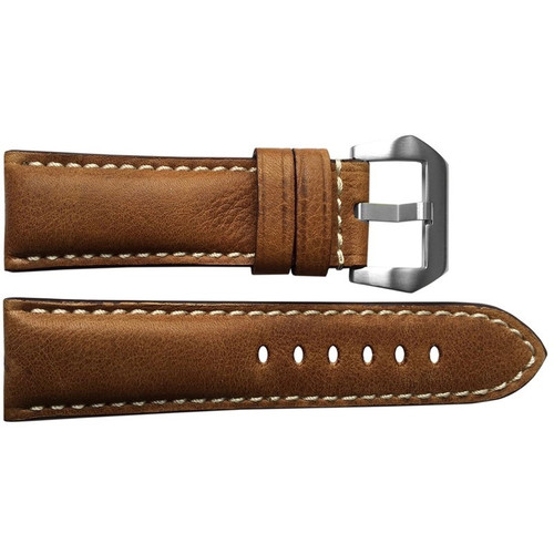 24mm Classic Brown Padded Vintage Leather Watch Strap with White Stitching | OEMwatchbands.com