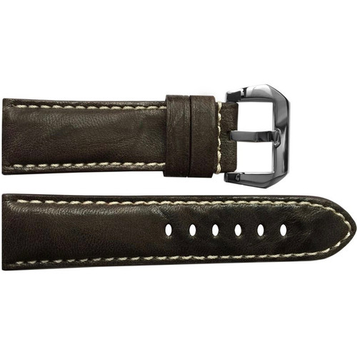 24mm Dark Brown Padded Distressed Vintage Leather Watch Strap with White Stitching | OEMwatchbands.com