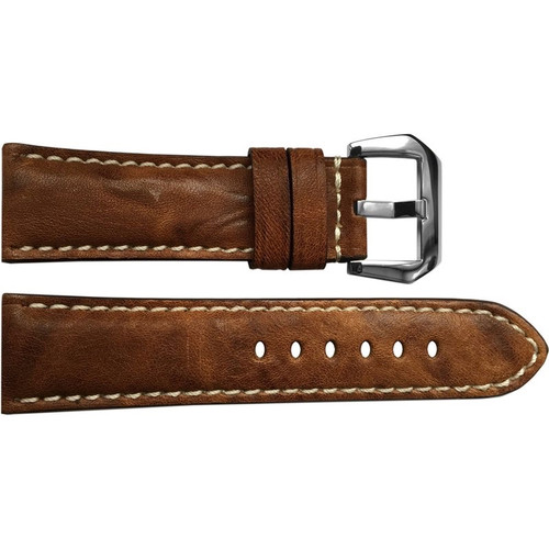 24mm Burnt Chestnut Padded Vintage Leather Watch Strap with White Stitching | OEMwatchbands.com