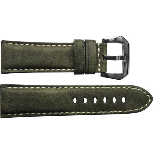22mm Olive Padded Vintage Leather Watch Strap with White Stitching | OEMwatchbands.com