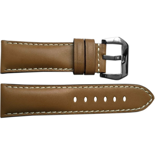 24mm Tan Padded Leather Watch Strap with White Stitching | OEMwatchbands.com