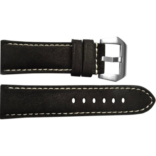 22mm Black Rough Padded Vintage Leather Watch Strap with White Stitching | OEMwatchbands.com