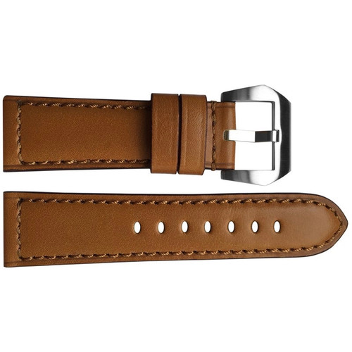24mm Honey Padded Vintage Leather Watch Strap with Match Stitching | OEMwatchbands.com