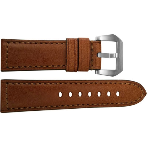 24mm Brown Padded Vintage Leather Watch Strap with Match Stitching | OEMwatchbands.com