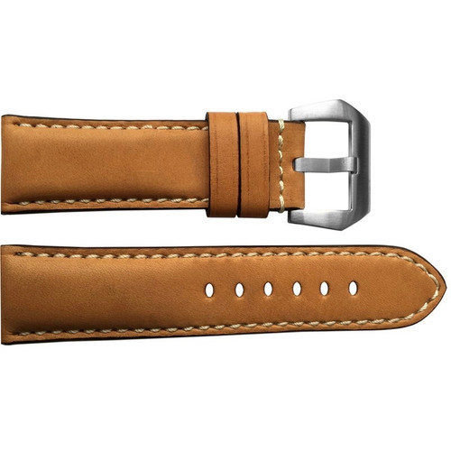 24mm Natural Padded Vintage Leather Watch Strap with White Stitching | OEMwatchbands.com