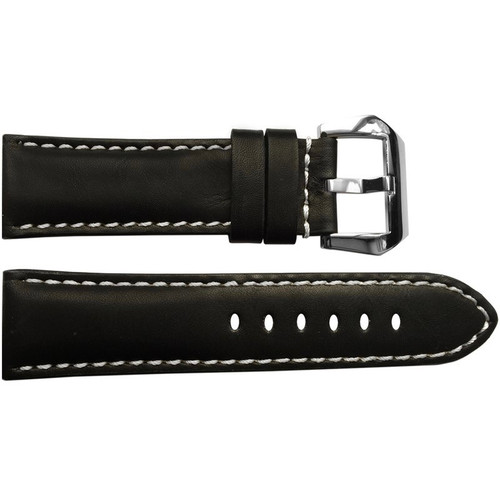 22mm Black Padded Vintage Leather Watch Strap with White Stitching | OEMwatchbands.com