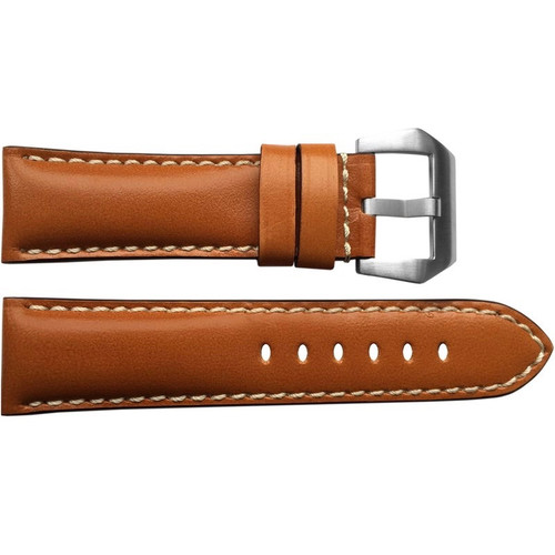 24mm (XL) Honey Brown Padded Vintage Leather Watch Strap with White Stitching | OEMwatchbands.com