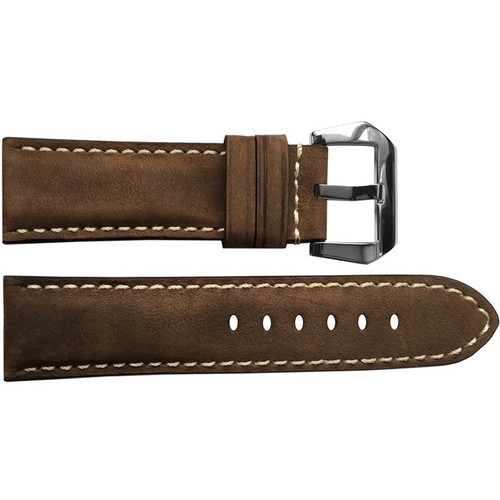 24mm (XL) Brown Light Suede Padded Vintage Leather Watch Strap with White Stitching | OEMwatchbands.com