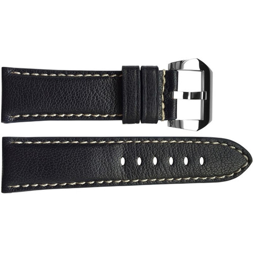 24mm (XL) Navy Padded Vintage Leather Watch Strap with White Stitching | OEMwatchbands.com