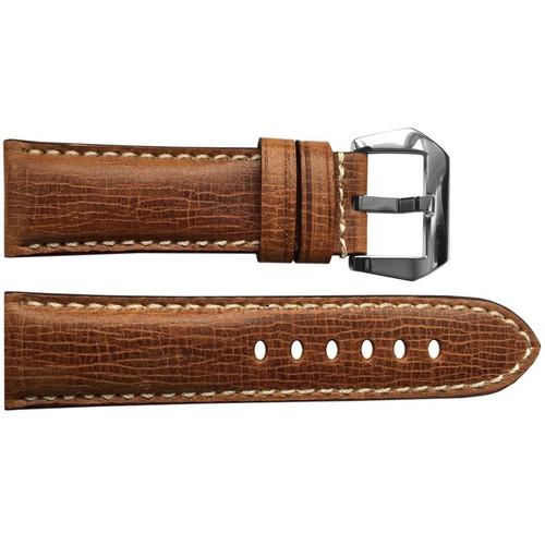 24mm (XL) Brown Padded Cracked Vintage Leather Watch Strap with White Stitching | OEMwatchbands.com