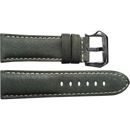 24mm (XL) Boulder Grey Padded Vintage Leather Watch Strap with White Stitching | OEMwatchbands.com