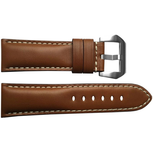 24mm (XL) Medium Brown Padded Leather Watch Strap with White Stitching | OEMwatchbands.com