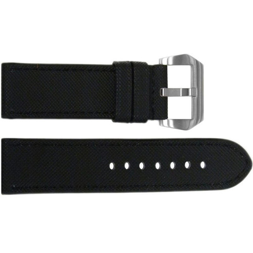 "24mm Black ""KVLR"" Style Waterproof Synthetic Style Watch Strap with Black Stitching 