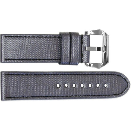 "24mm Carbon Grey ""KVLR"" Style Waterproof Synthetic Watch Strap with Black Stitching 