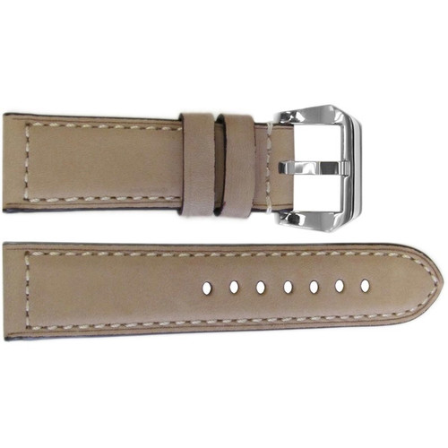 "24mm Cream ""La Villette"" Padded Vintage Calf Leather Watch Strap with White Stitching 
