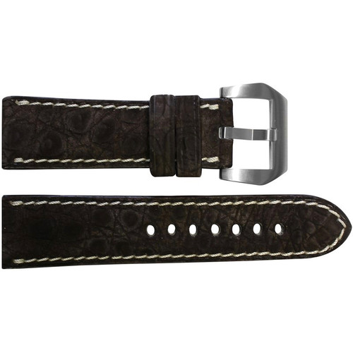24mm Mocha Padded Nubuk Alligator (Flank) Watch Strap with White Stitching | OEMwatchbands.com